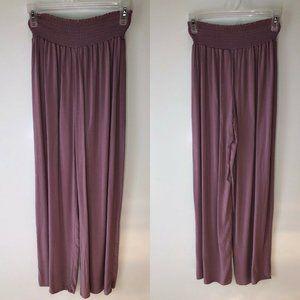 Bongo Purple Rayon Pleated Elastic Hi Waist Pants